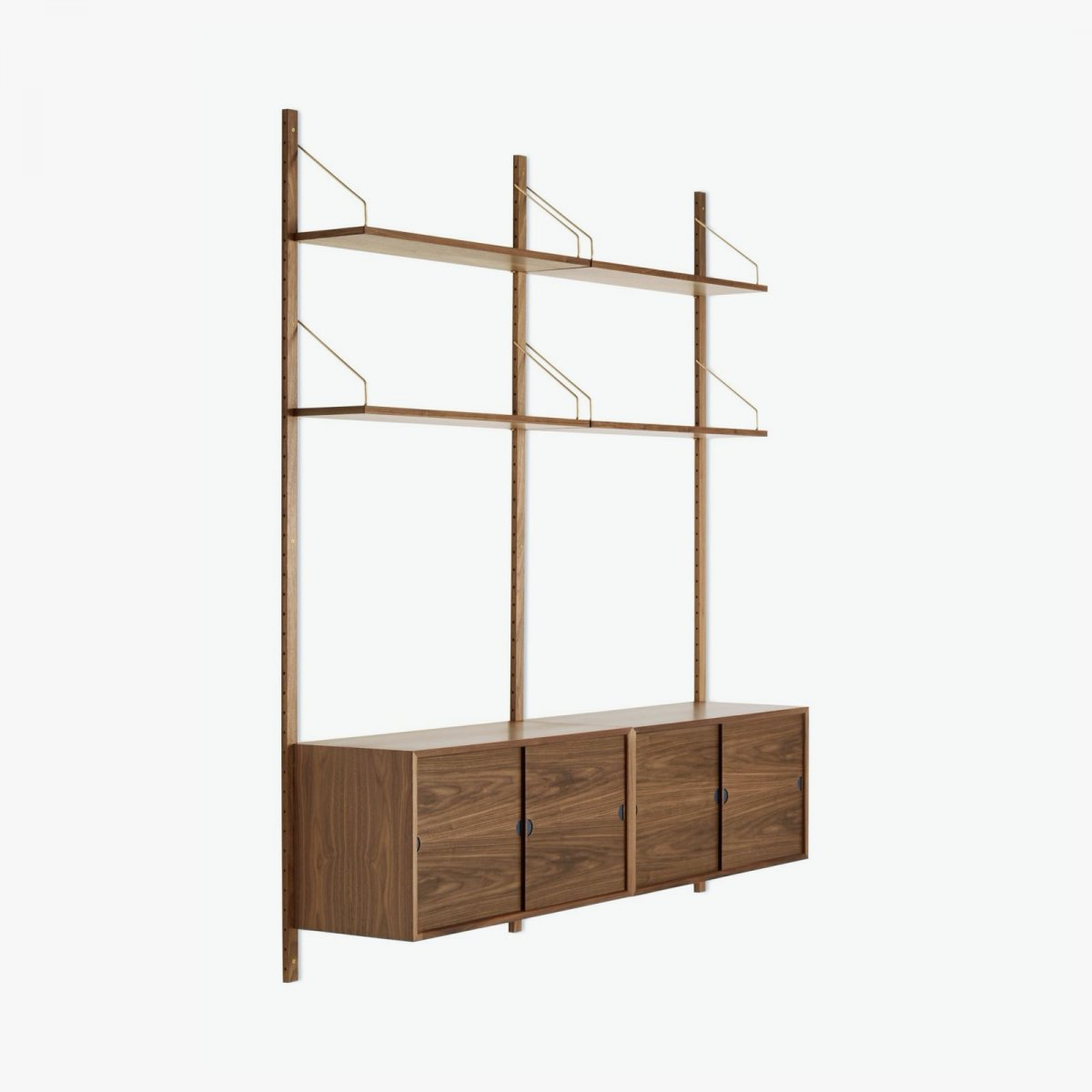 Royal System Shelving Unit B with Sliding Door Cabinets, walnut.