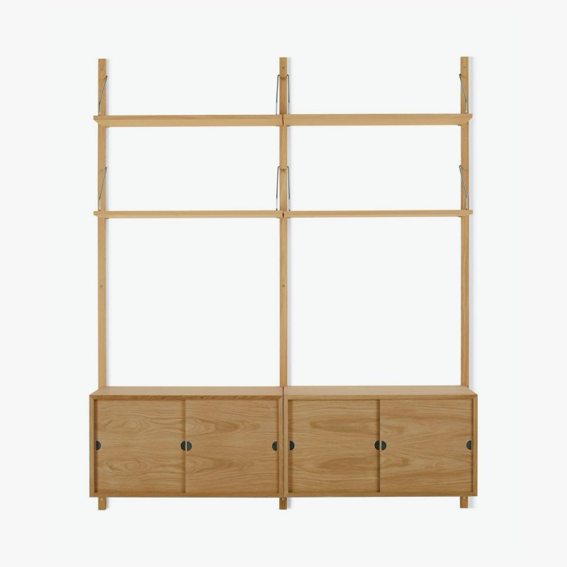 Royal System Shelving Unit B with Sliding Door Cabinets