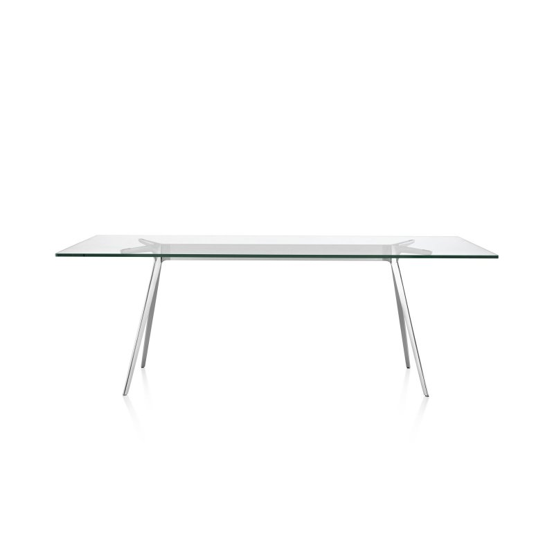 Baguette dining table, with glass top and polished legs.