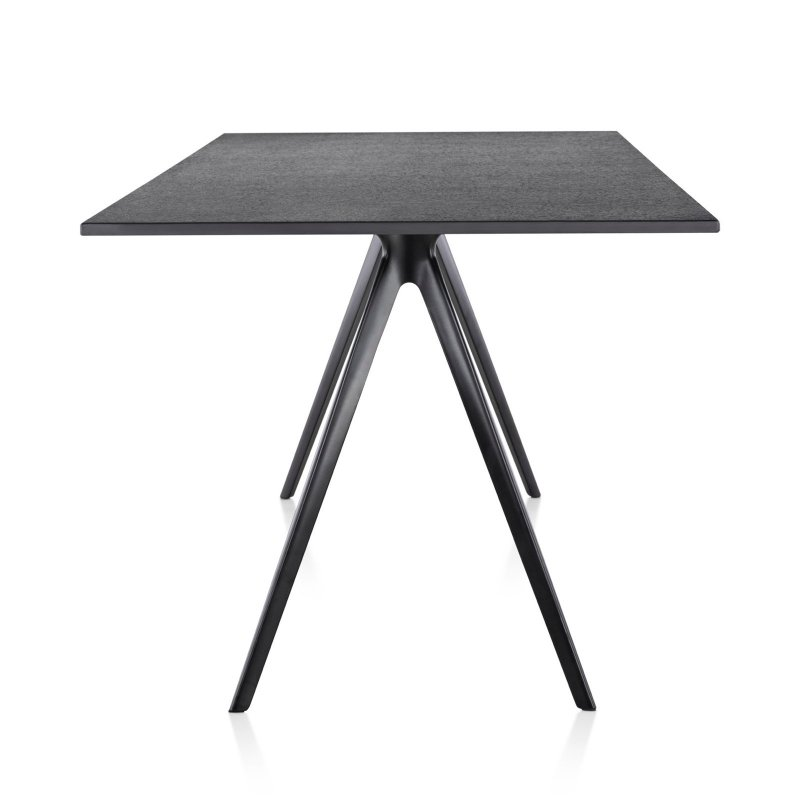 Baguette dining table, black, side view.