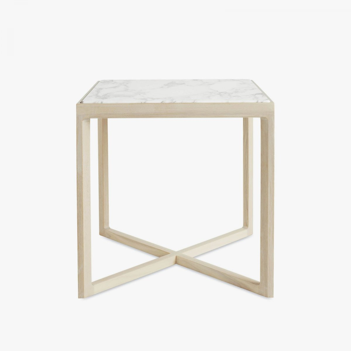 Krusin Side Table, ash + Arabescato marble.