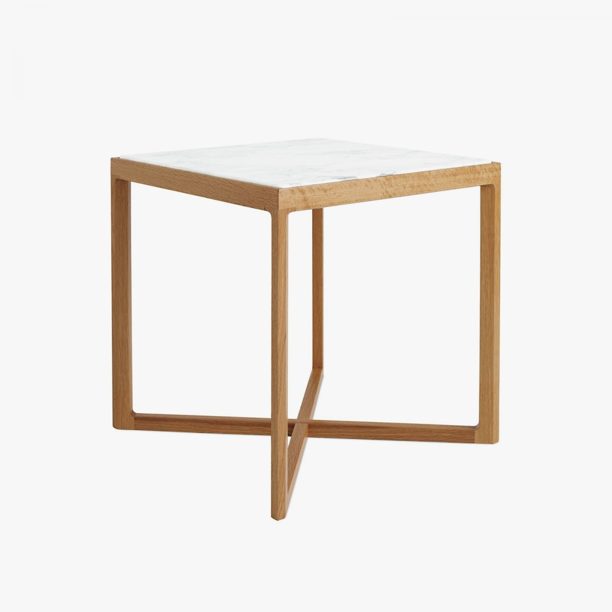 Krusin Side Table, oak + Arabescato marble.