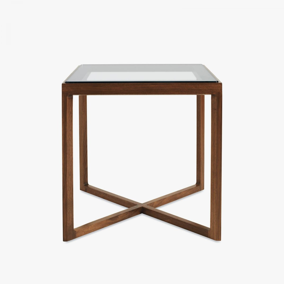 Krusin Side Table, walnut + glass.