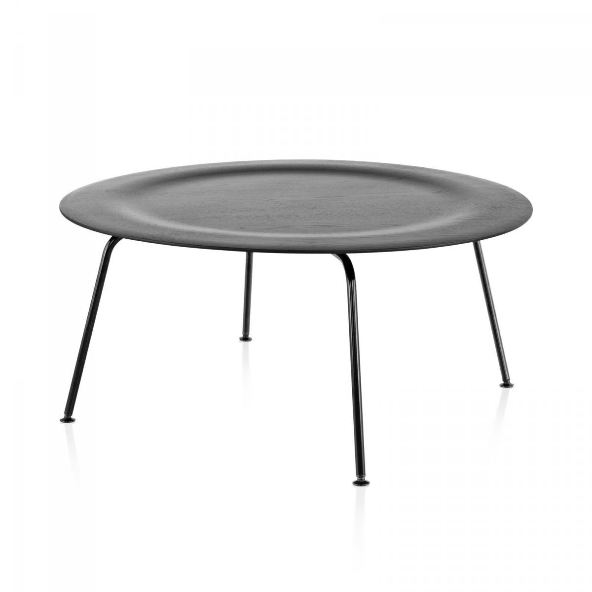 Eames Molded Plywood Coffee Table Metal Base, ebony top, black base.