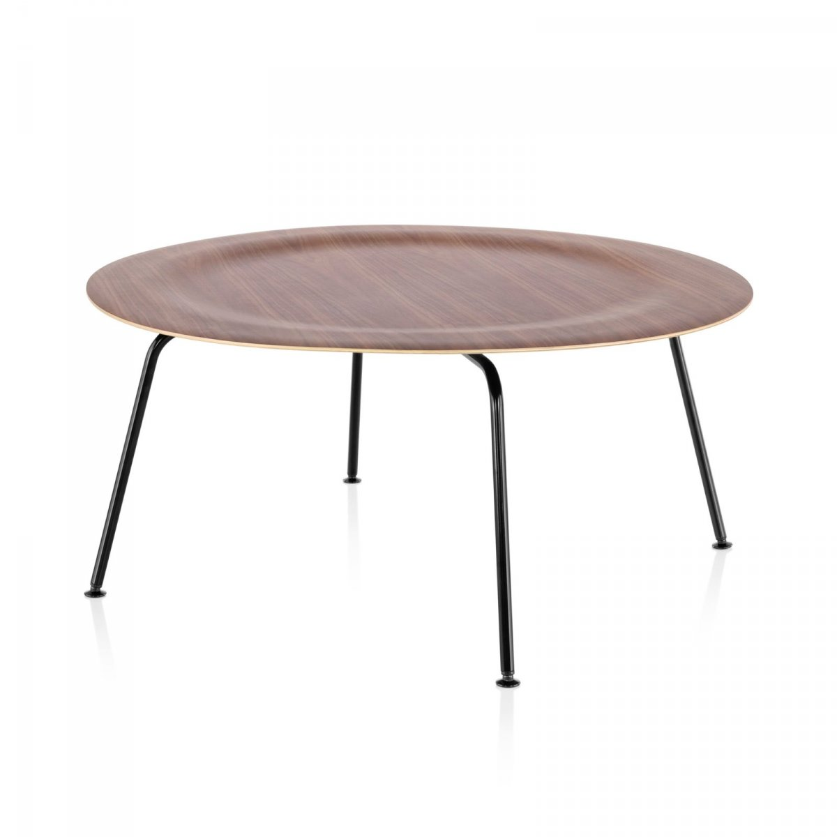 Eames Molded Plywood Coffee Table Metal Base, walnut top, black base.