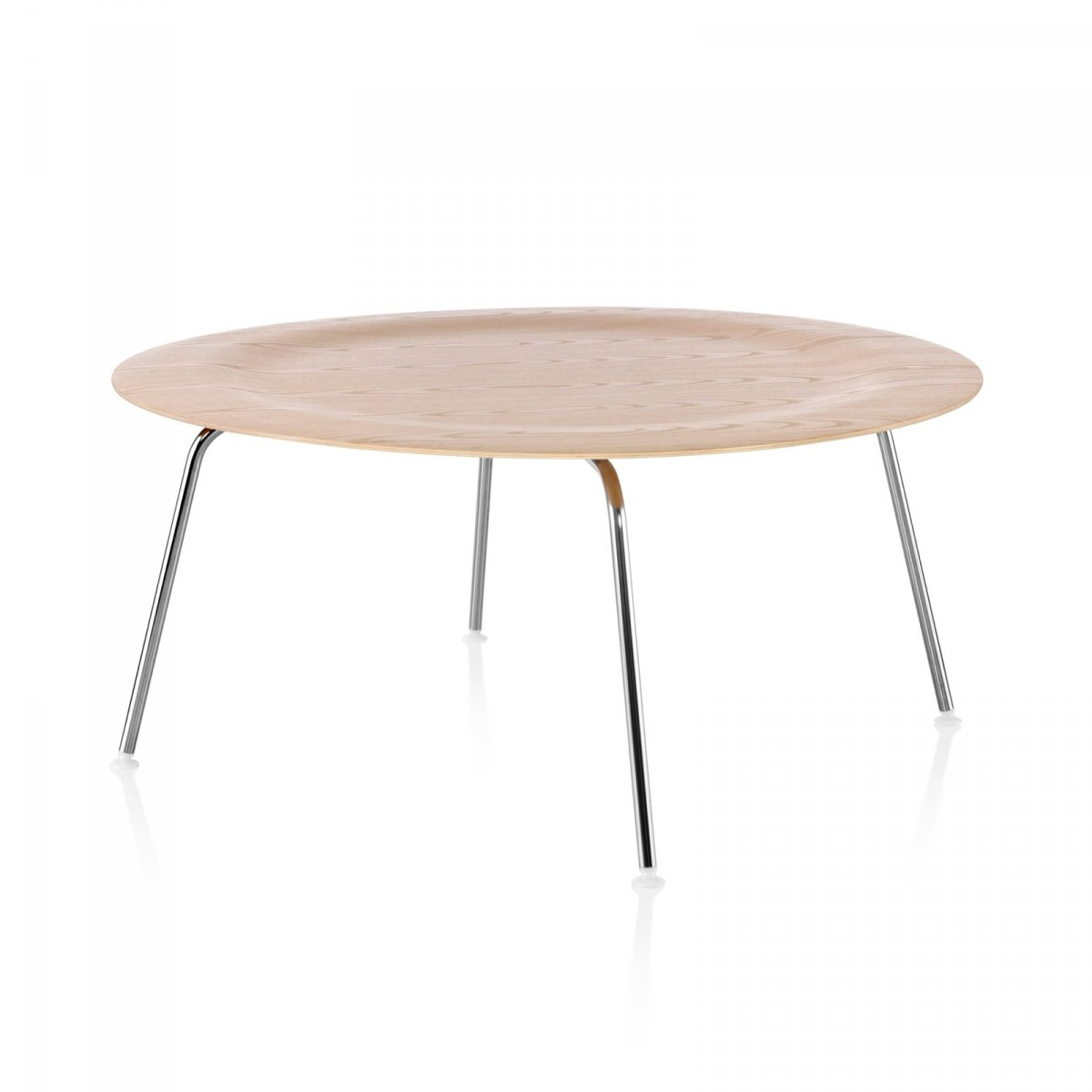 Eames Molded Plywood Coffee Table Metal Base, white ash top, trivalent chrome base.