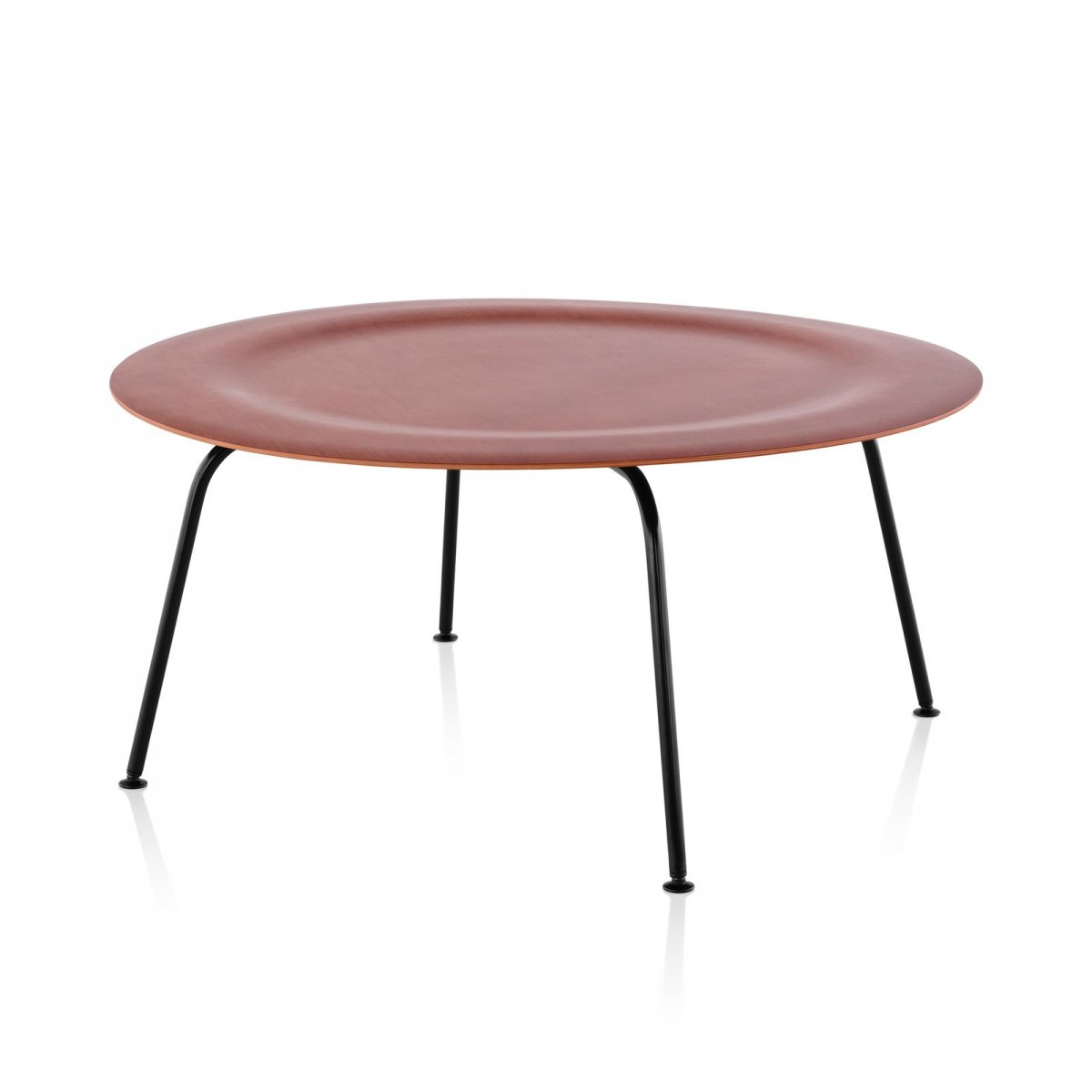 Eames Molded Plywood Coffee Table Metal Base, cherry top, black base.