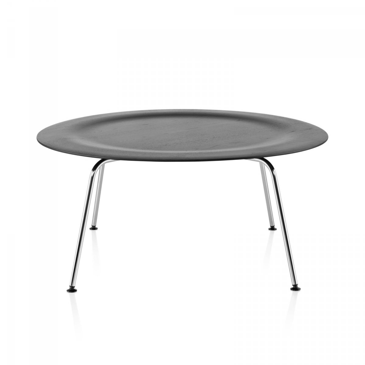 Eames Molded Plywood Coffee Table Metal Base, ebony top, trivalent chrome base.