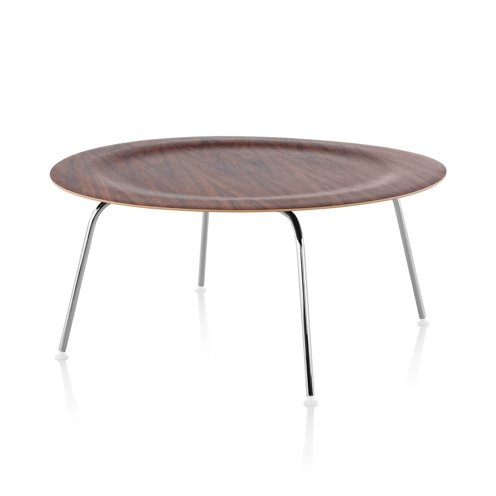 Eames Molded Plywood Coffee Table Metal Base, Walnut Top, Trivalent Chrome  Base.