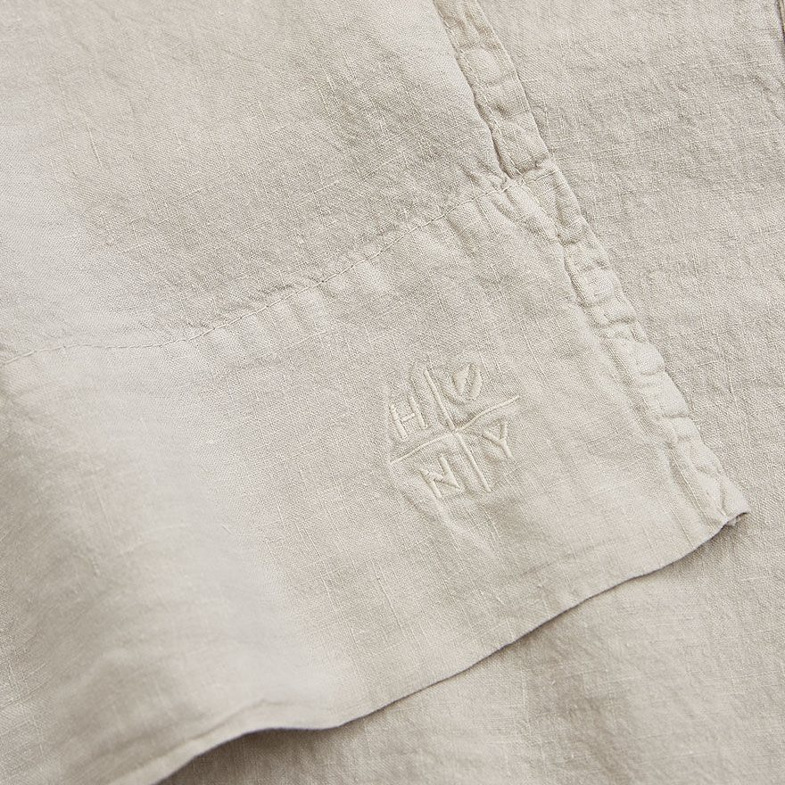 Simple Linen Flat Sheet (King), light grey, detail.