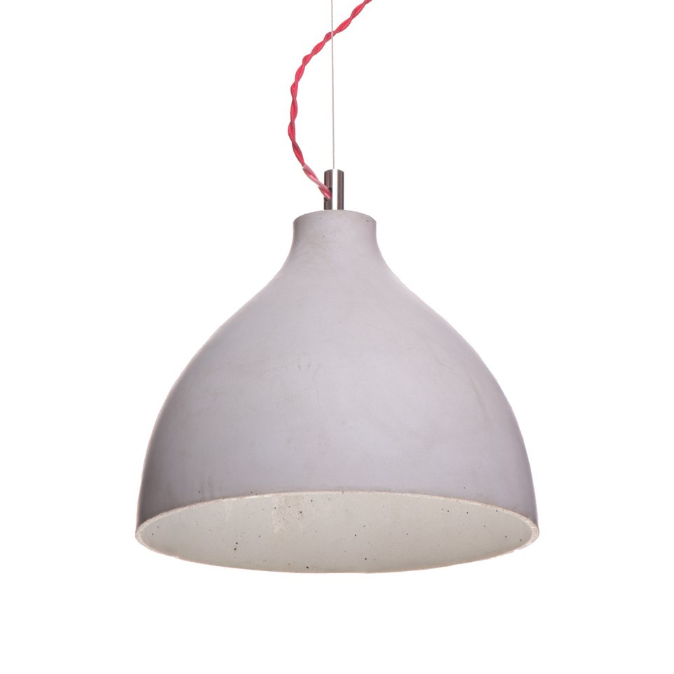 Heavy pendant, large, light gray.