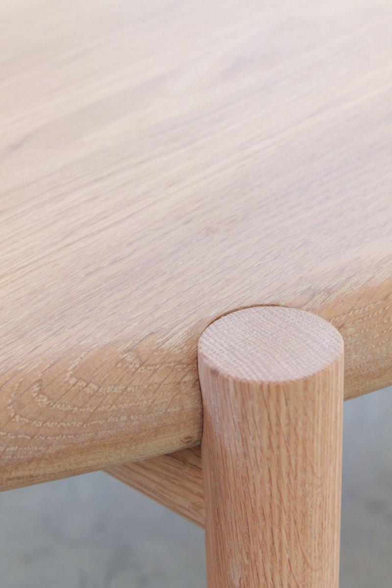 Mora Coffee Table, white oak, detail.