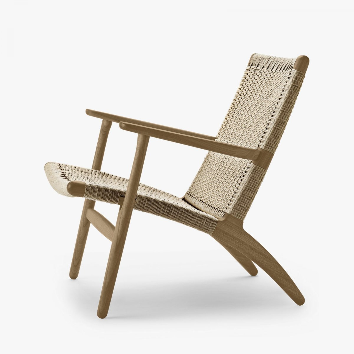CH25 Lounge Chair, oiled oak with natural cord, side view.