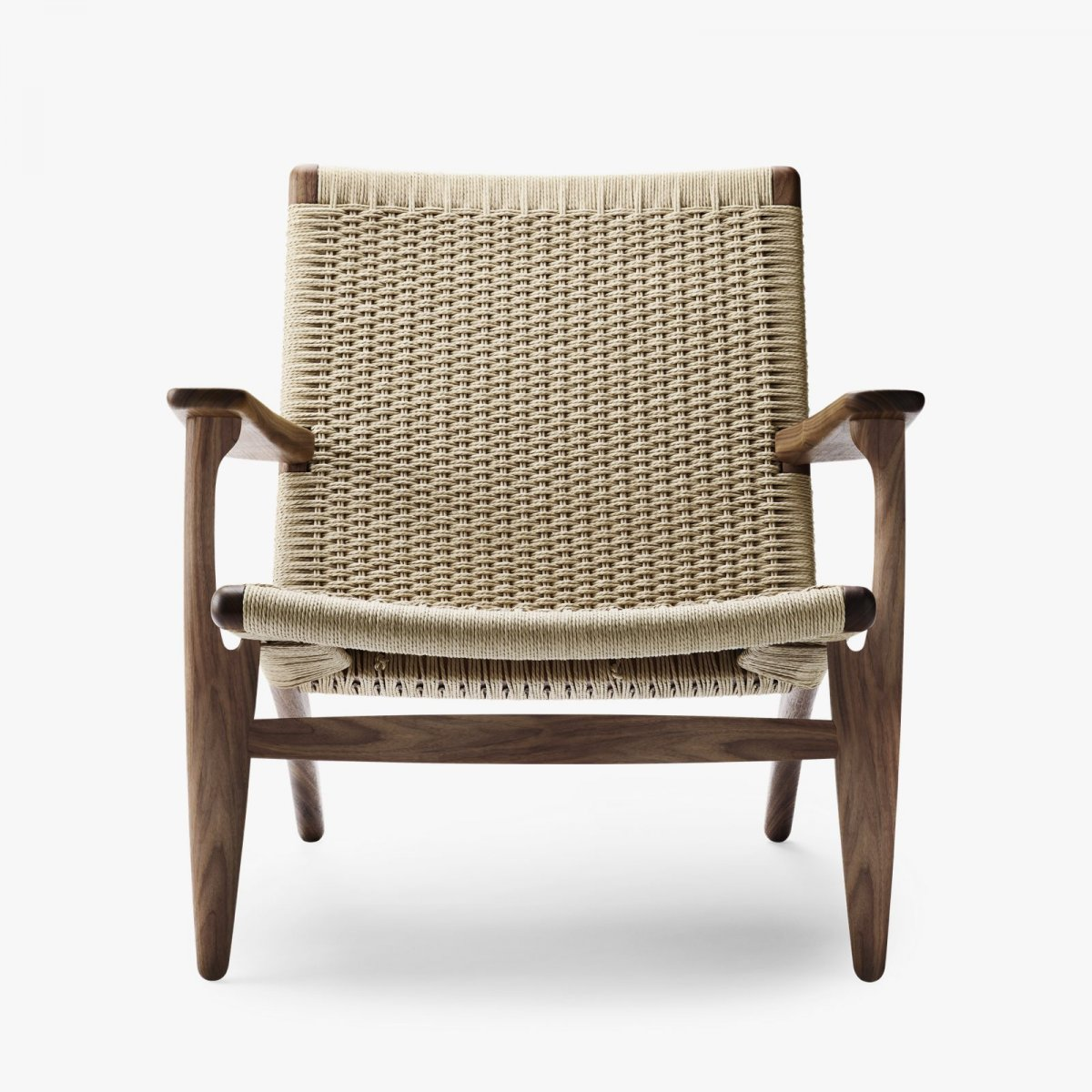 CH25 Lounge Chair, oiled walnut with natural cord.
