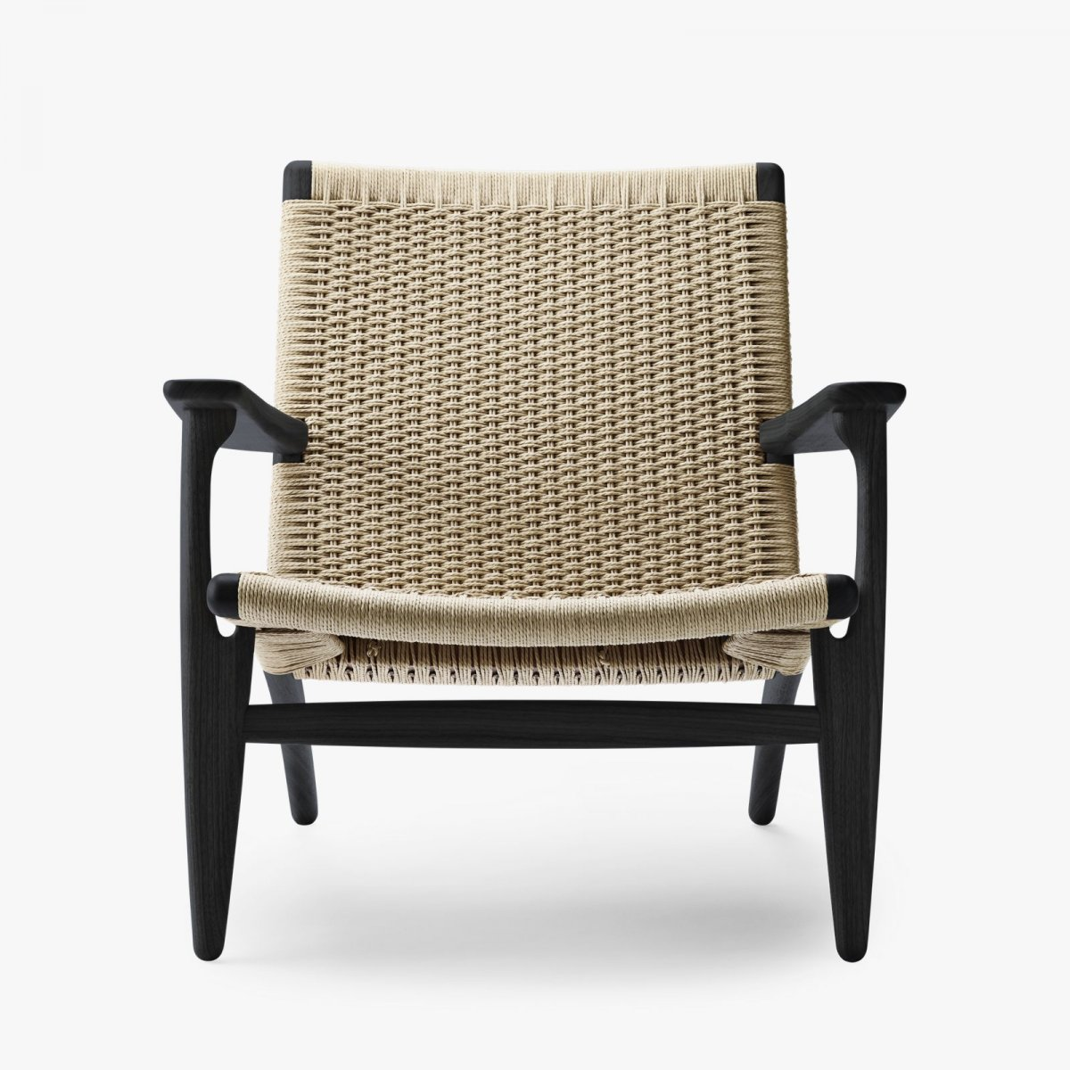 CH25 Lounge Chair, black lacquered oak with natural cord.