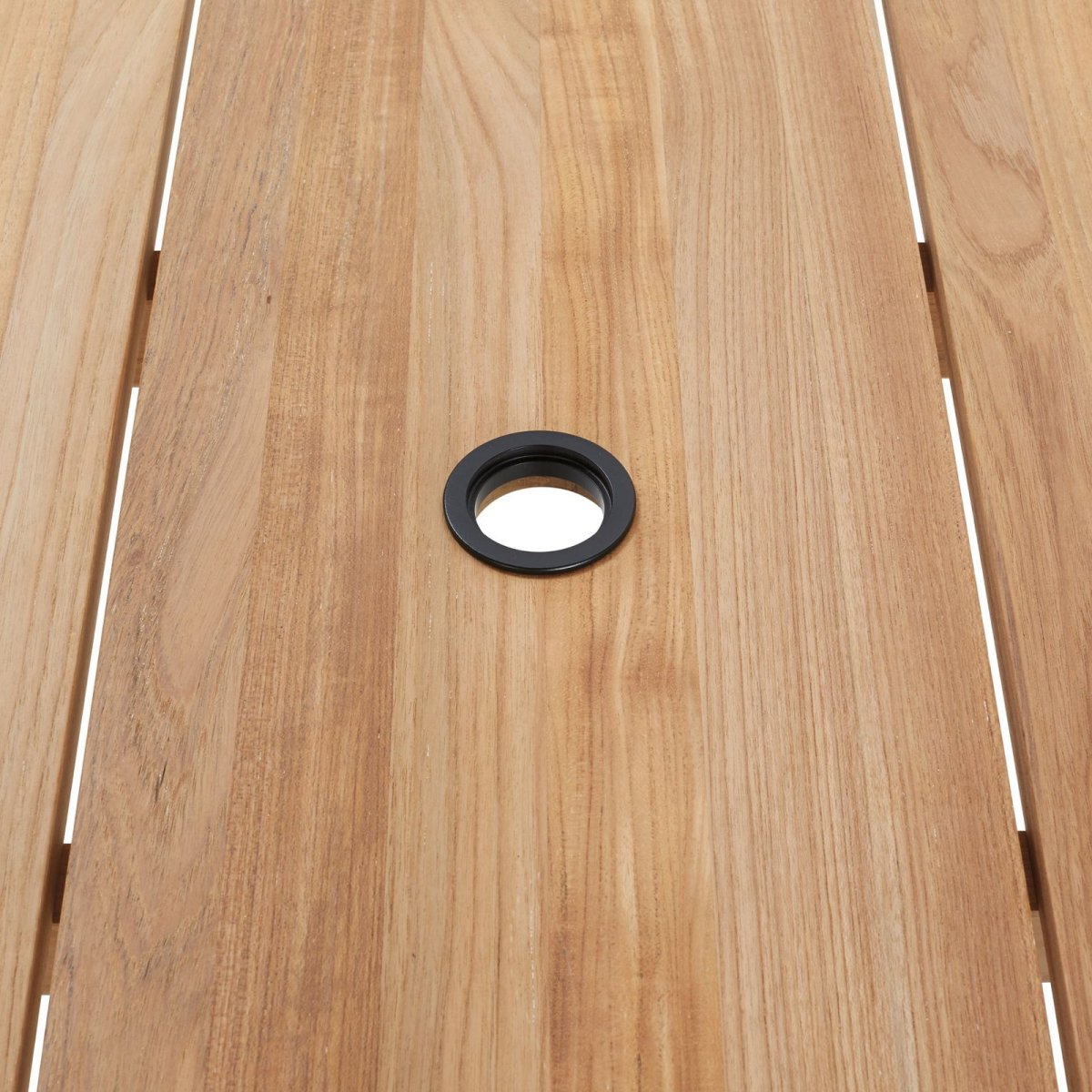Terassi Dining Table, removable plug to accommodate umbrella.