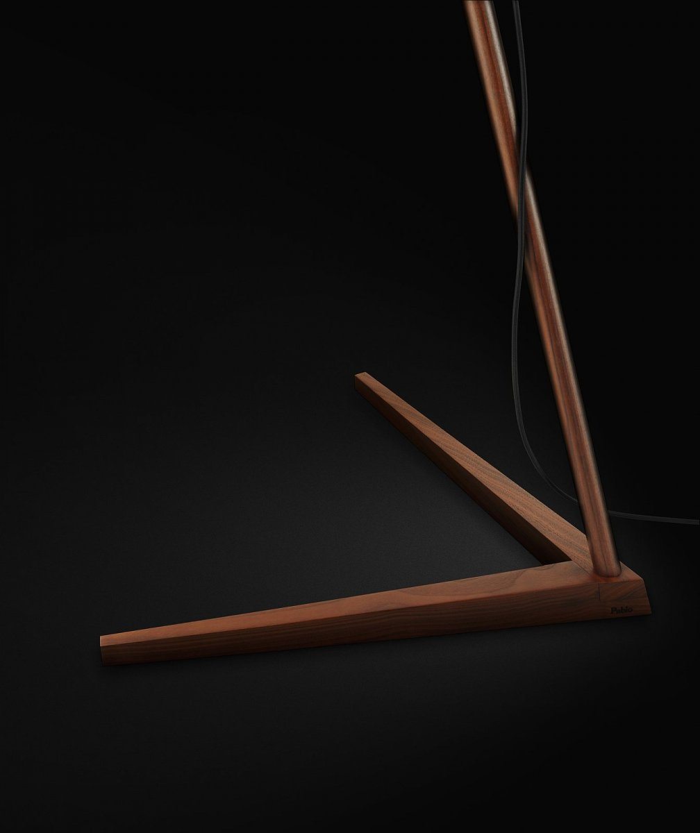 Clamp Floor Lamp, walnut, base detail.