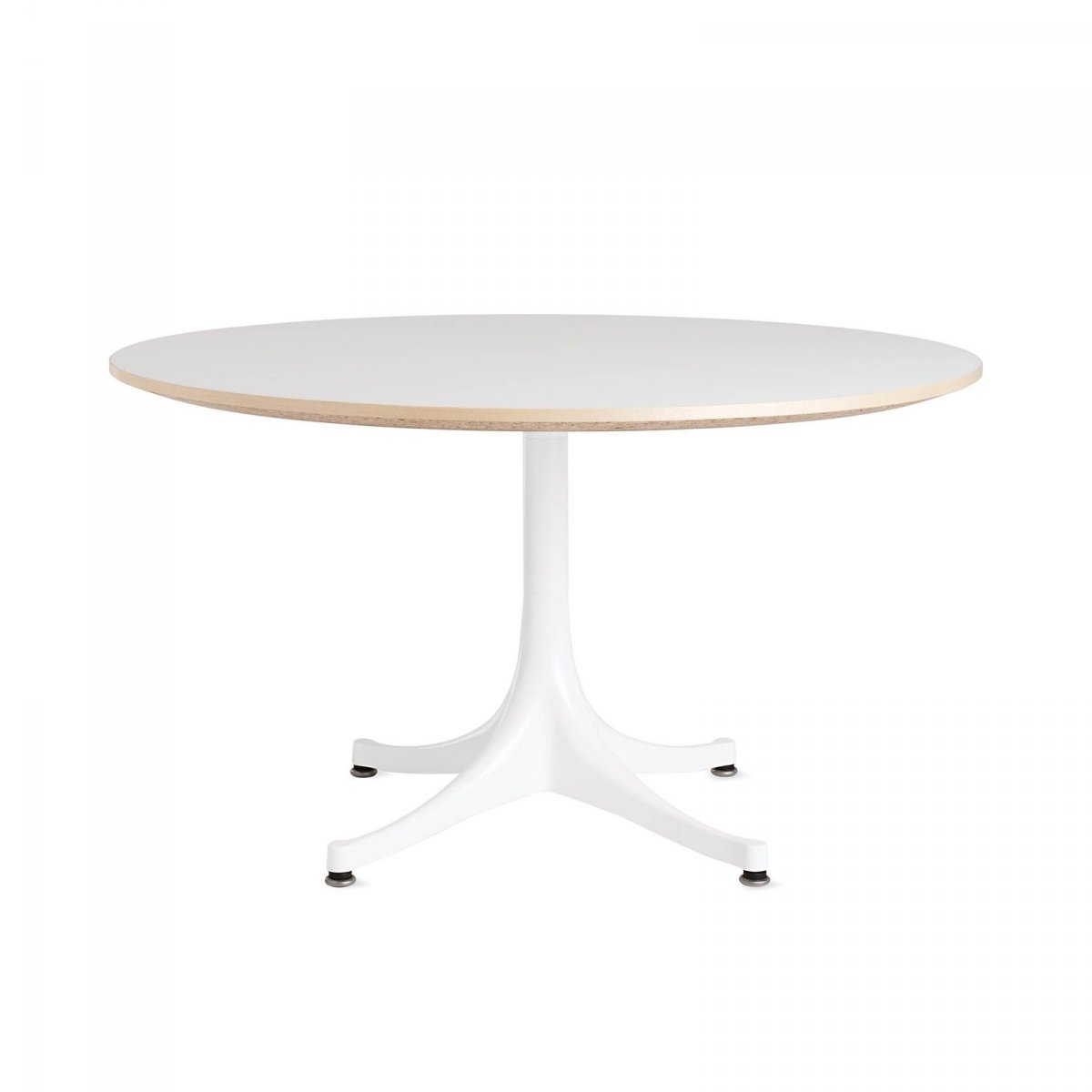 Nelson Pedestal Table 5452, white top with white base.
