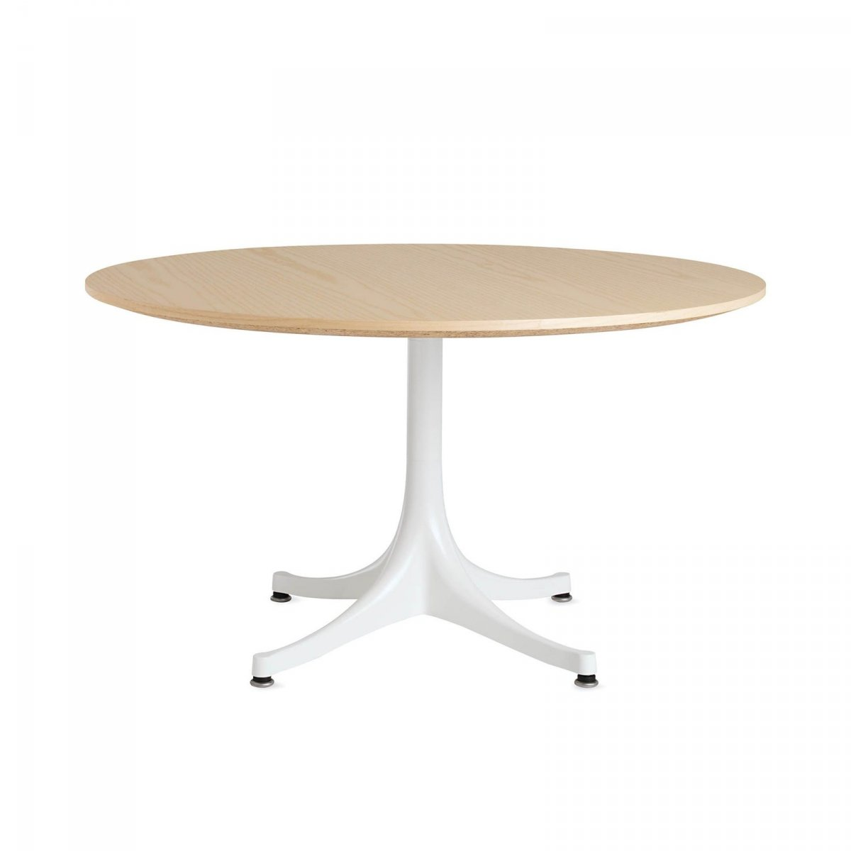 Nelson Pedestal Table 5452, white ash top with white base.