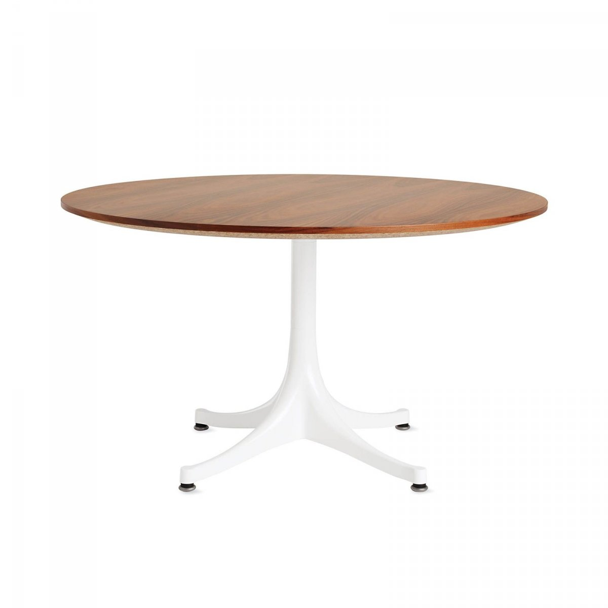 Nelson Pedestal Table 5452, santos palisander top with white base.