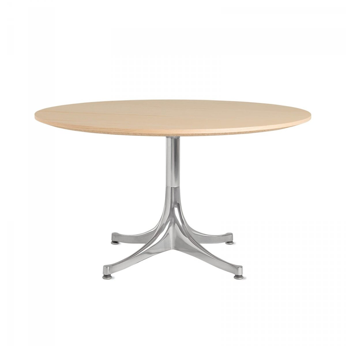 Nelson Pedestal Table 5452, white ash top with polished aluminum base.