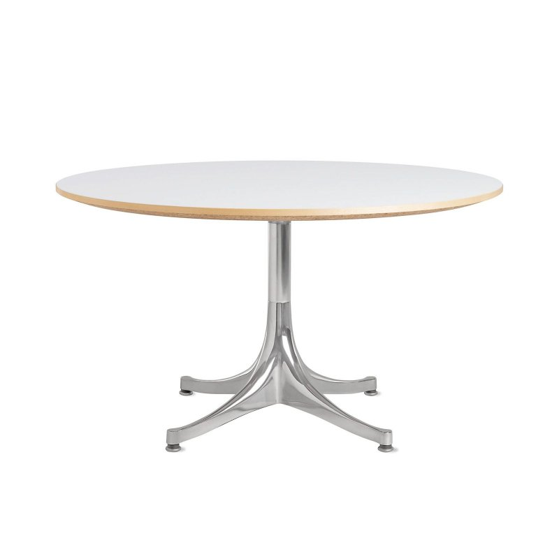 Nelson Pedestal Table 5452, white top with polished aluminum base.