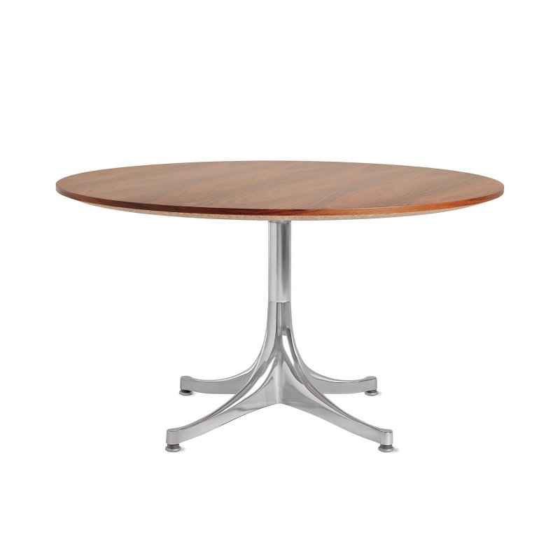 Nelson Pedestal Table 5452, santos palisander top with polished aluminum base.