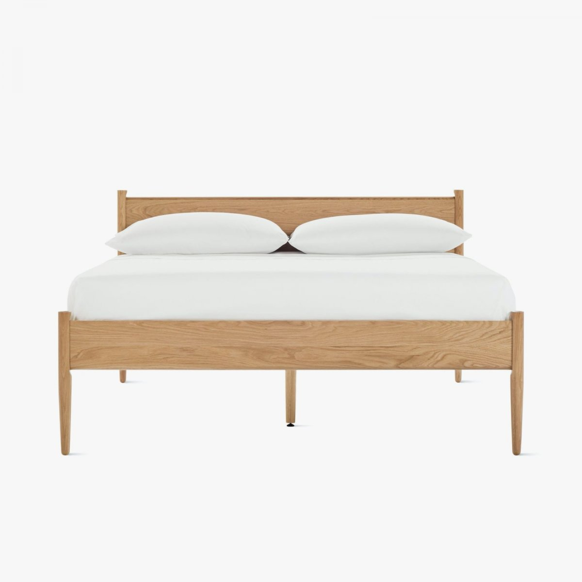 Cove Bed, oak, front view.
