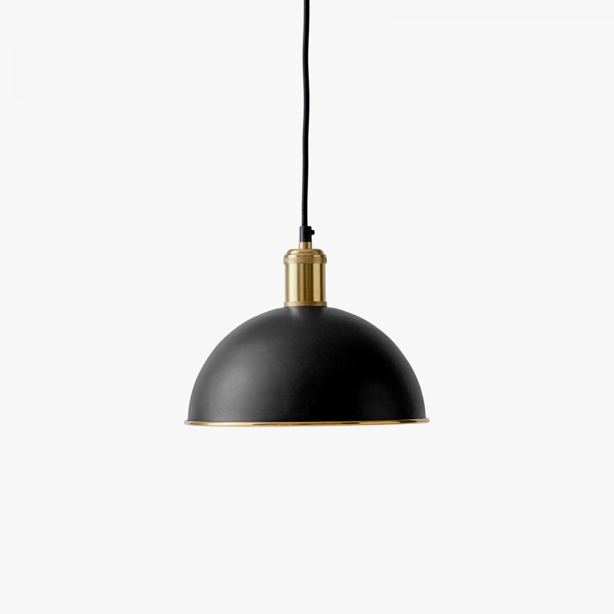 Hubert Pendant, black + brushed brass.