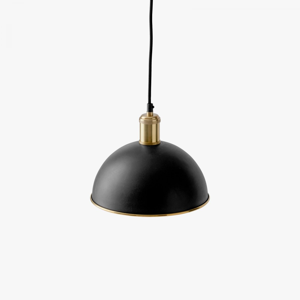 Hubert Pendant, black + brushed brass.