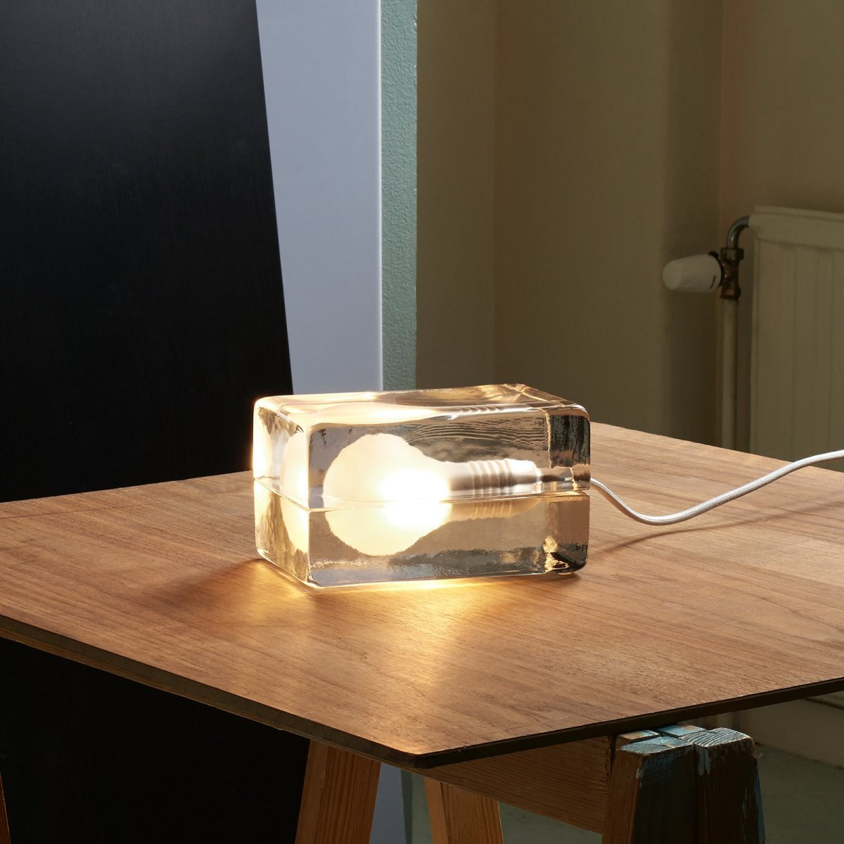 Block Lamp, white cord.
