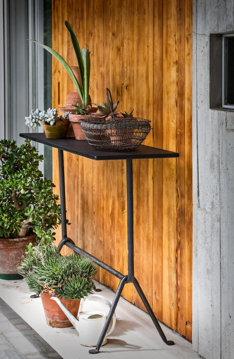 Officina Console Table with slate top.