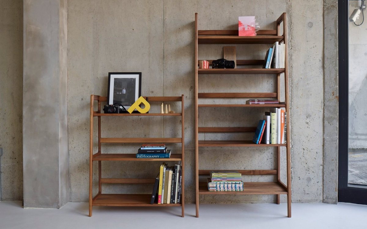 Agnes Medium and High Shelving Units, walnut.