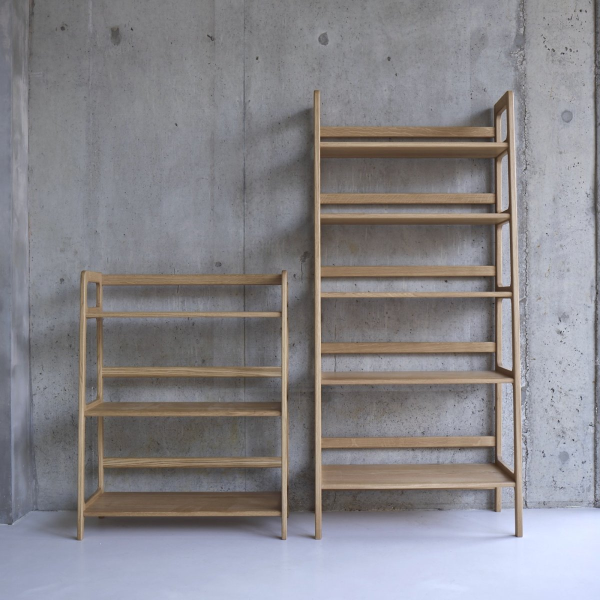 Agnes Medium and High Shelving Units, oak.