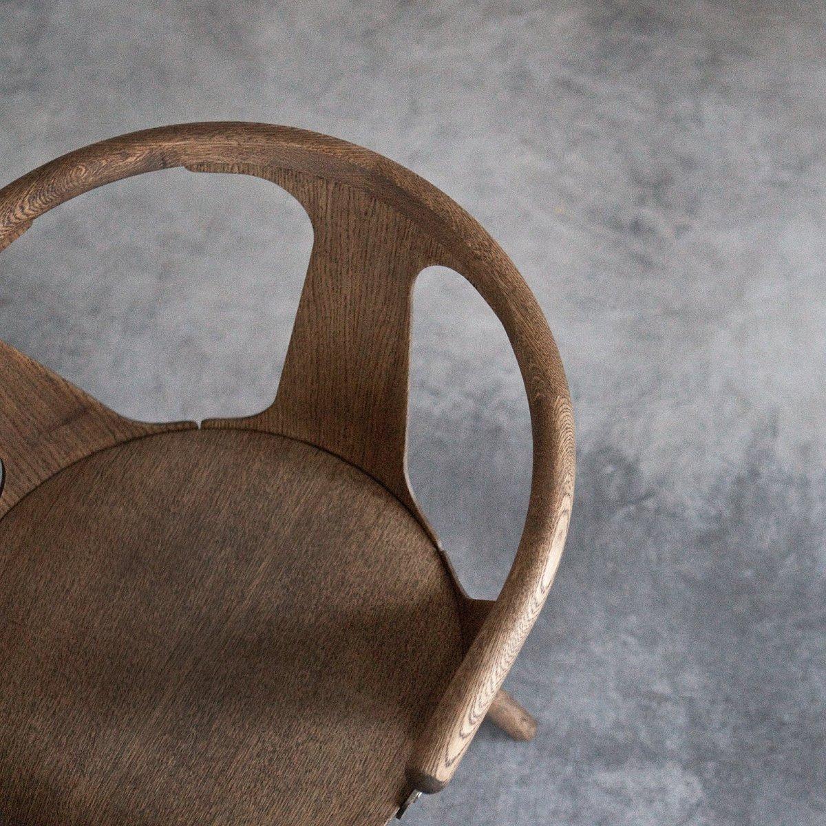In Between Chair SK1, smoked oiled oak, top view.