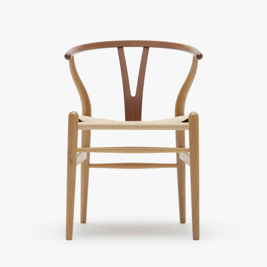 CH24 Wishbone Chair, front view.