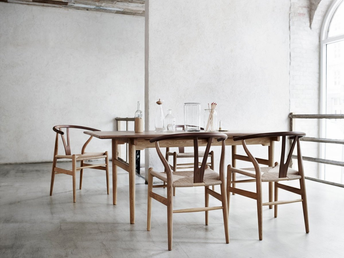 CH24 Wishbone Chairs and CH327 dining table.
