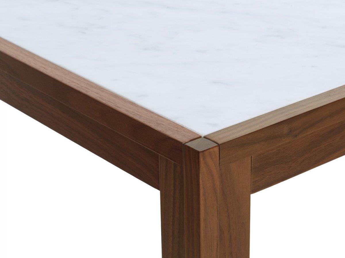 Doubleframe Table, Carrara/Walnut, detail.