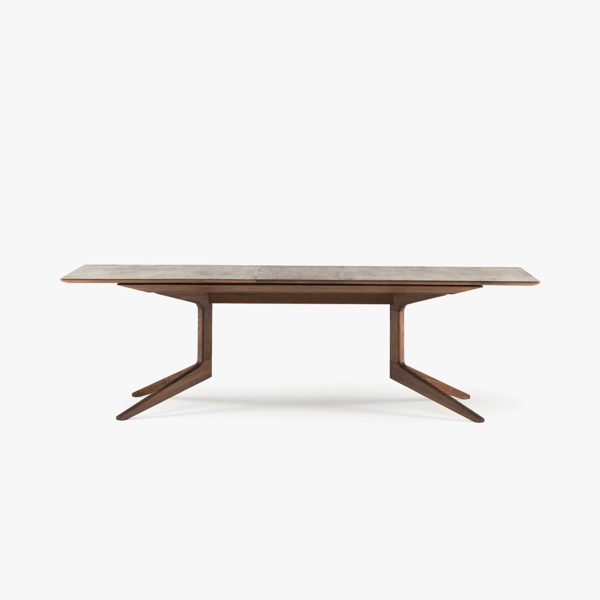 341E Light Extending Table in Danish oiled walnut, 1 leaf in place.