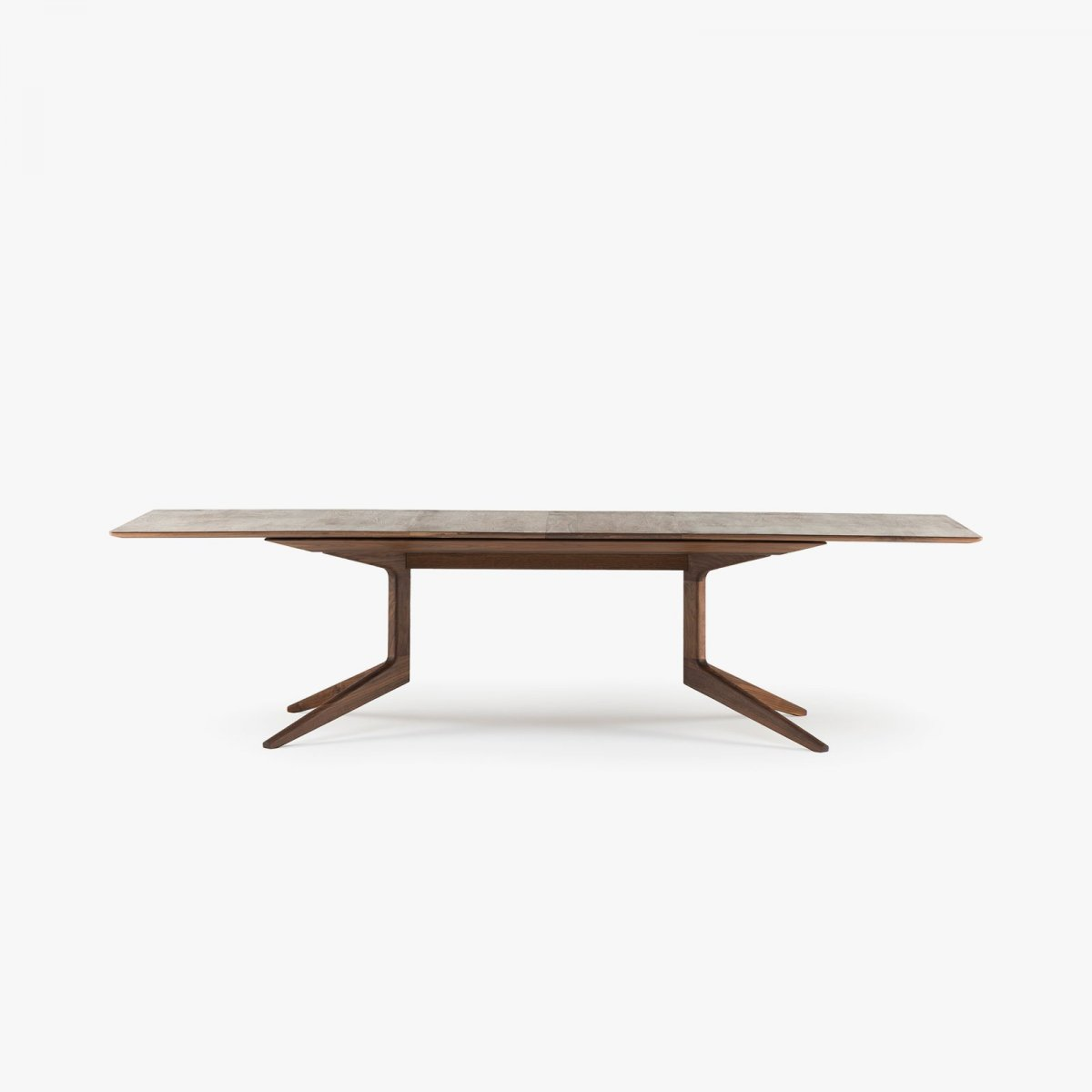 341E Light Extending Table in Danish oiled walnut, 2 leaves in place.