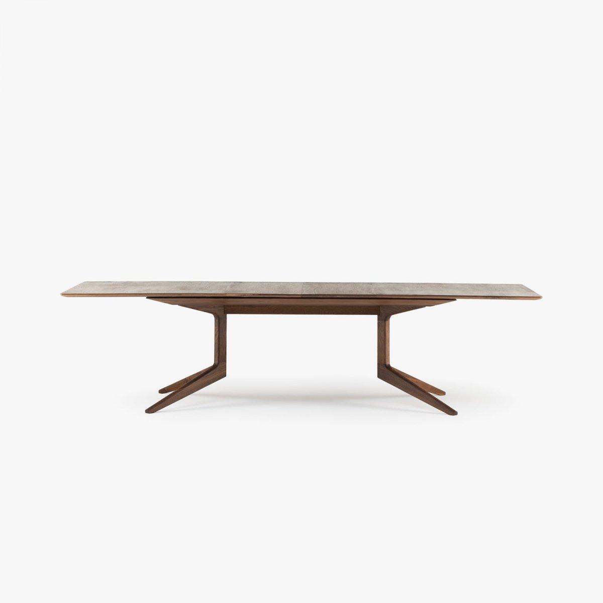 341E Light Extending Table in Danish oiled walnut, 2 leaves in place.