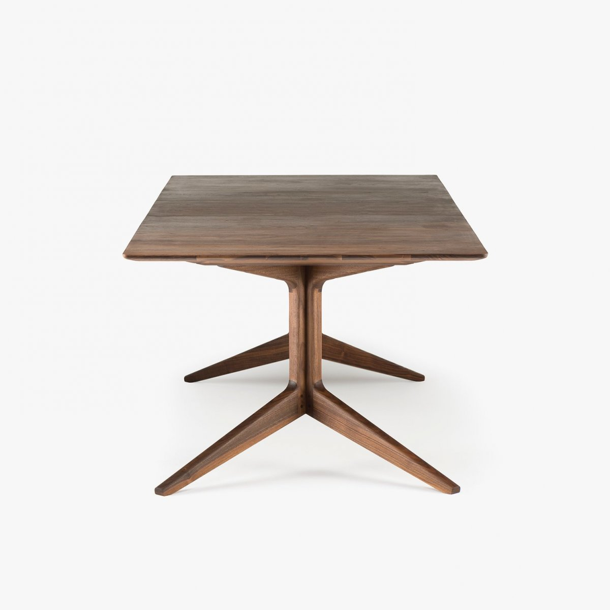 341E Light Extending Table in Danish oiled walnut, side view.