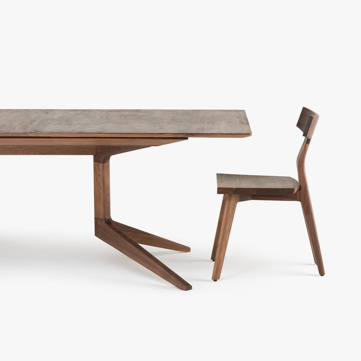 341E Light Extending Table in Danish oiled walnut, with Fin Dining Chair.