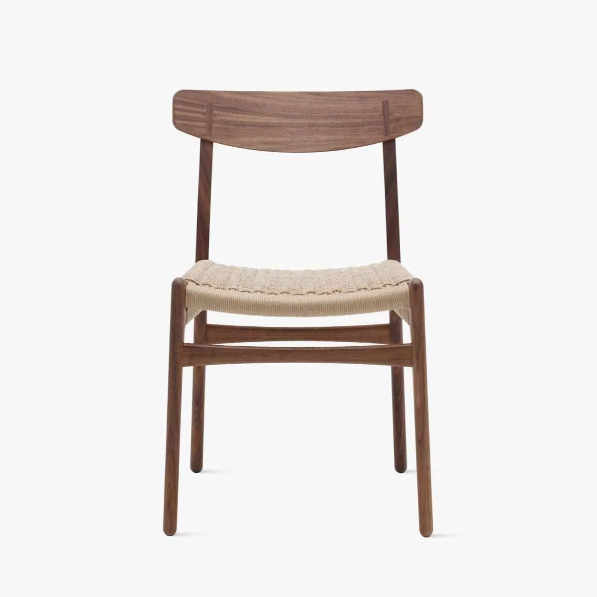 CH23 Chair, walnut, front view.