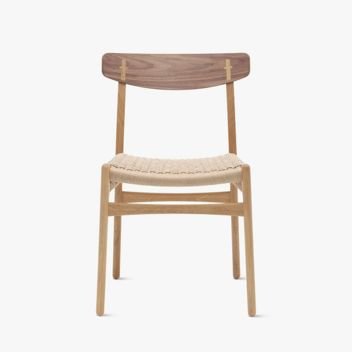 CH23 Chair, oak + walnut, front view.