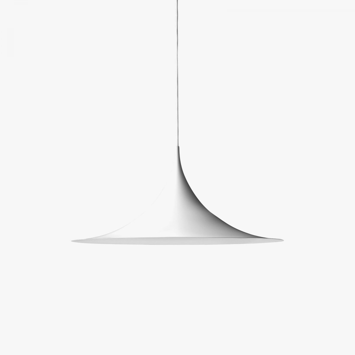 Semi pendant lamp, matt white.