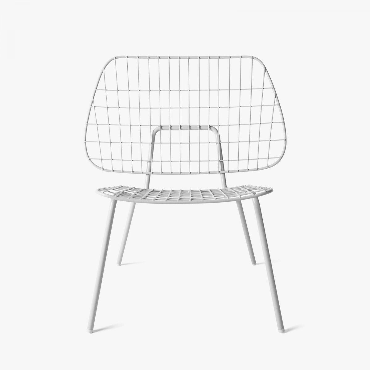 WM String Lounge Chair, white, front view.