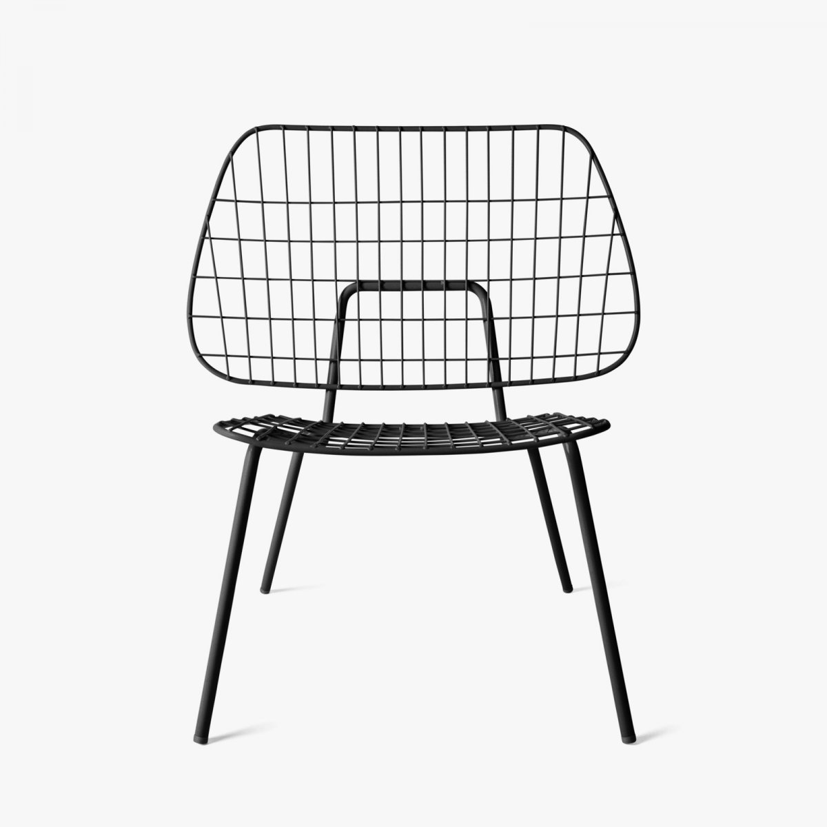 WM String Lounge Chair, black, front view.