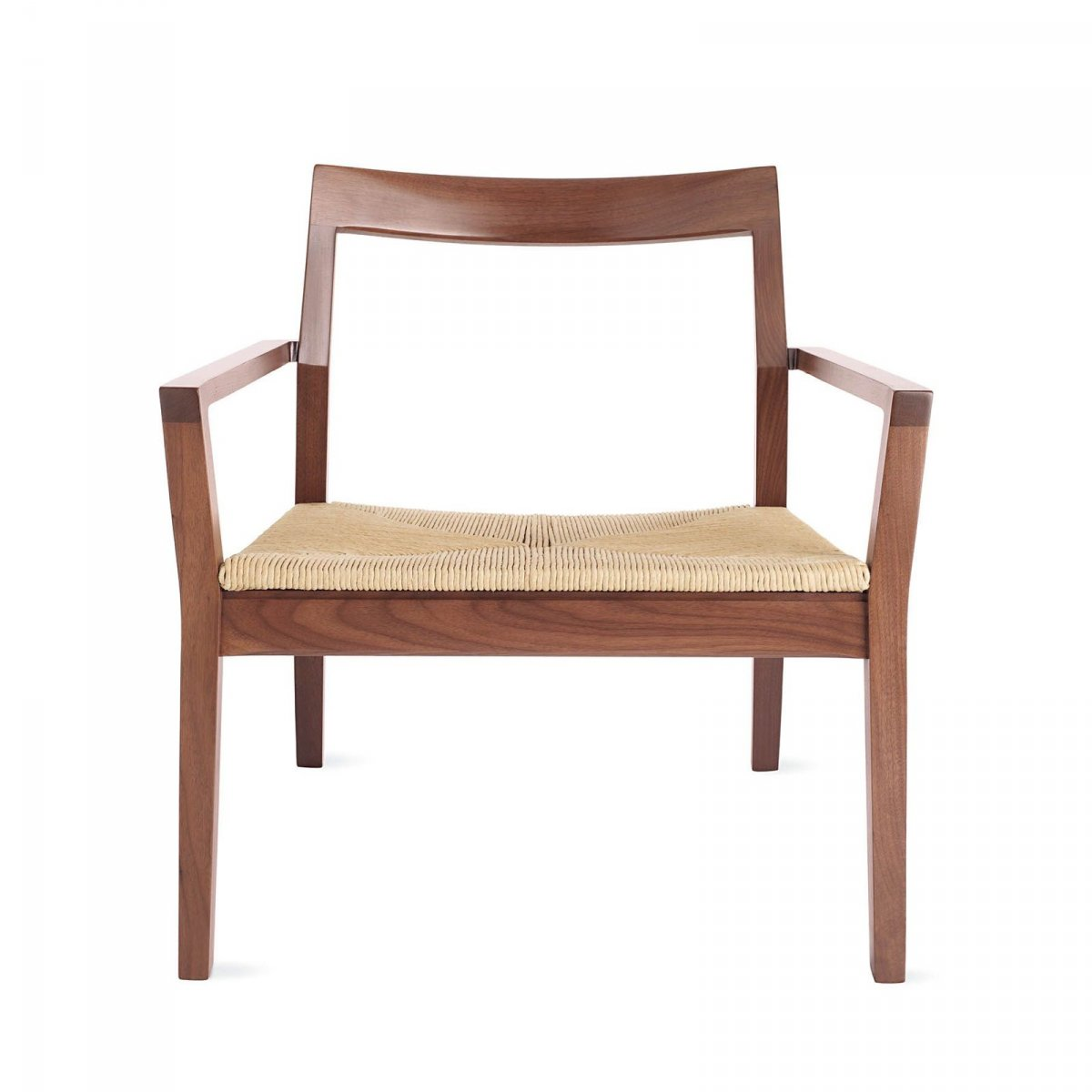 Krusin Lounge Arm Chair, walnut, front view.