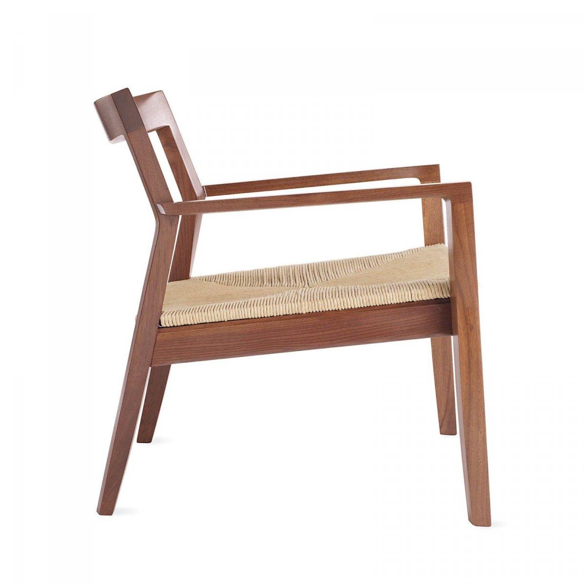 Krusin Lounge Arm Chair, walnut, side view.